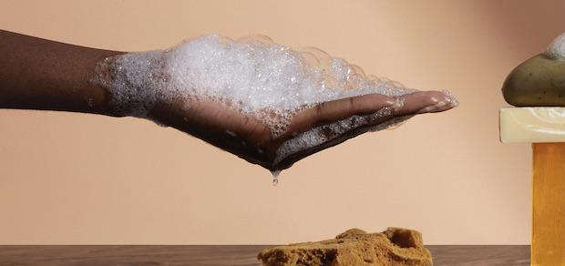 hand full of soap suds