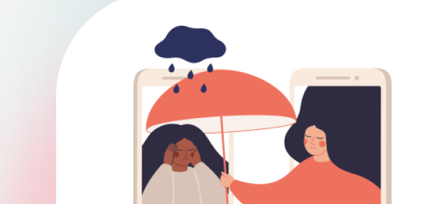 An illustration of a woman receiving emotional support through a mobile device.