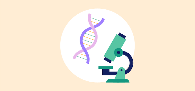 illustration of a microscope and a dna strand